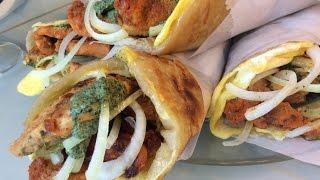 Chicken tandoori frankie (kathi rolls), chicken frankie, chicken roll paratha