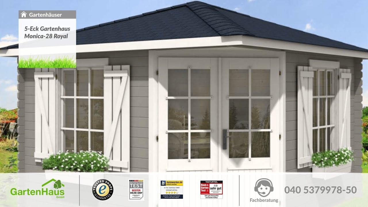 5-Eck Gartenhaus Monica-28 Royal - YouTube
