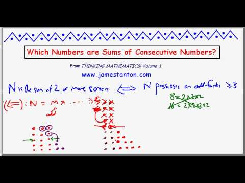 Sums of Consecutive Numbers Puzzle (Tanton: Mathematics)