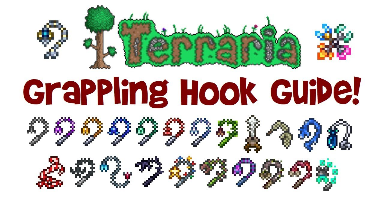 Terraria Hook Guide Crafting Comparison Of All Grappling Hooks Best Material Recipe Etc Youtube