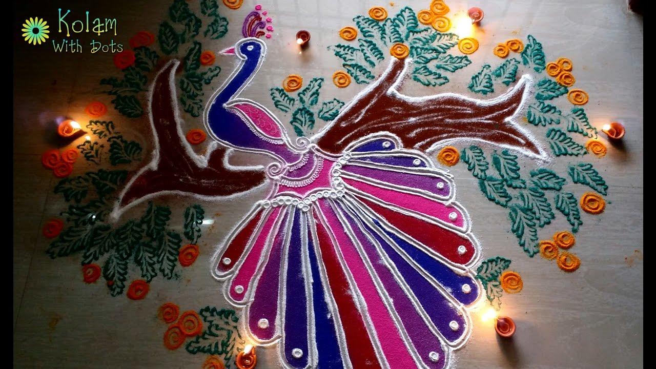Diwali Peacock Rangoli Design Decorations With Colours
