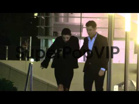 Max Greenfield and Tess Sanchez depart a Private Cocktail...