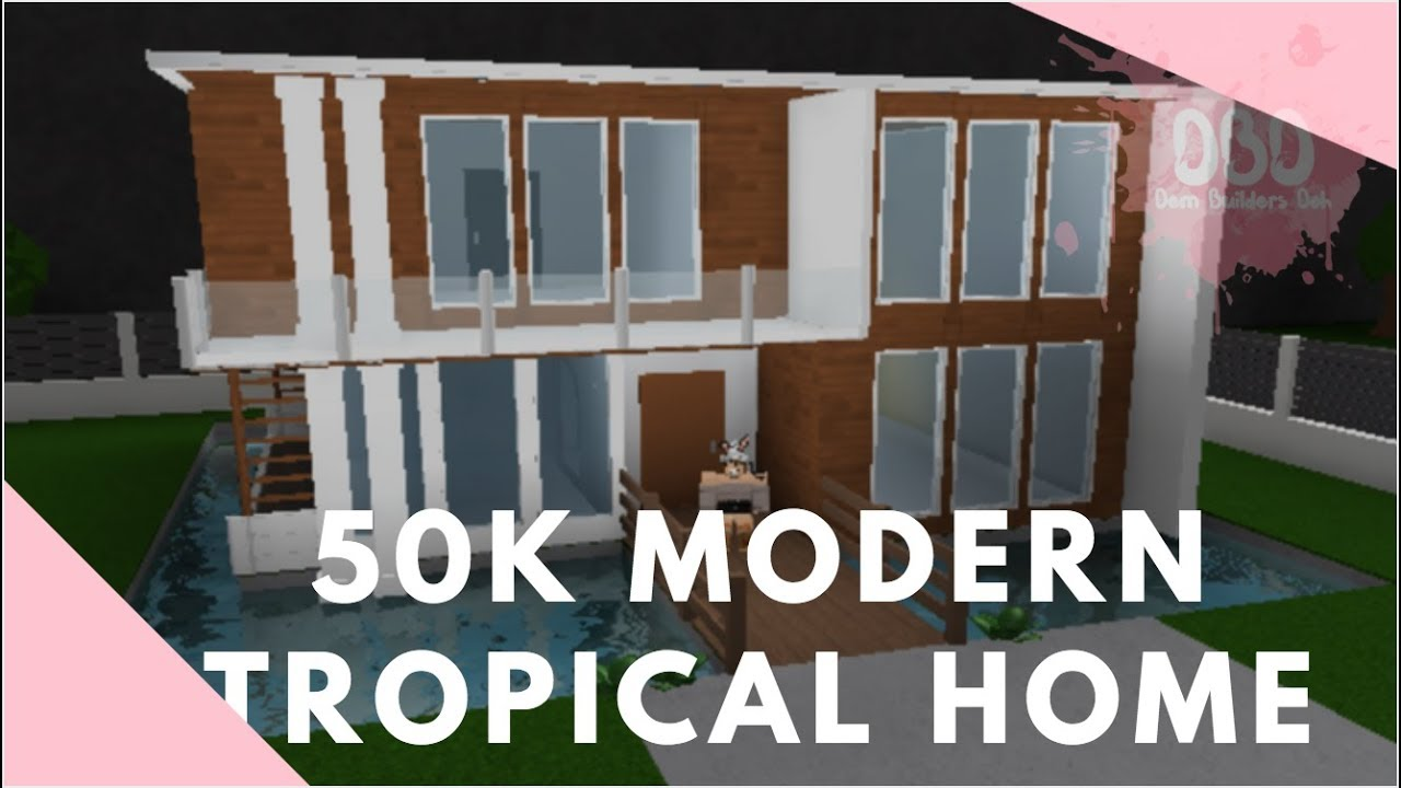 50k modern tropical home bloxburg exterior