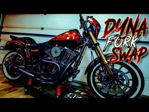 INVERTED FORKS ON A HARLEY DYNA - YouTube