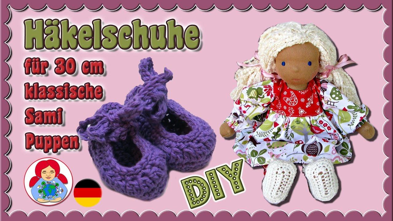 DIY | Häkelschuhe für 30 cm Puppen (Klassischer Sami Schnitt) • Sami ...