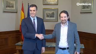 Pedro Sánchez y Pablo Iglesias firman un acuerdo para un Gobierno de coalición