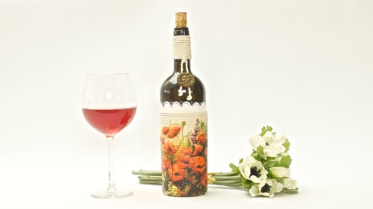 How To Decorate A Glass Bottle   Decoupage          DIY By Catherine :)    YouTube