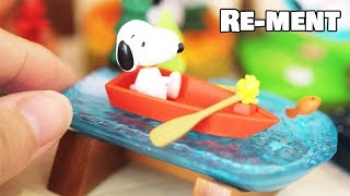 RE-MENT || UNBOXING Snoopy Terrarium On Vacation  - Miniature Land