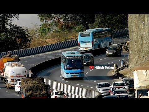 MSRTC SHIVNERI VOLVO BUSES ON MUMBAI PUNE EXPRESSWAY | ST BUSES MAHARASHTRA |MSRTC SHIVSHAHI HIRKANI