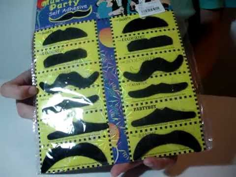 12 Stylish Assorted Fake Mustache Moustache Handlebar Costume Prop for Halloween Party