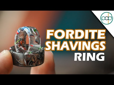 Resin Casting a Ring with Fordite Shavings