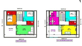 34 × 28 North face duplex house plan