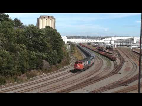 VIA#15 CN 4806 & VIA 6404 departing Halifax 22 September 2013 with an extra Stainless Steel Sleeper.