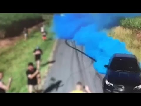 Frankie and Jess - Gender reveal goes bad: Car bursts into flames! (VIDEO)