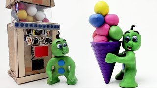 Green Baby GUMBALL LEARNING COLORS ICE CREAMS - Stop Motion Cartoons For Kids
