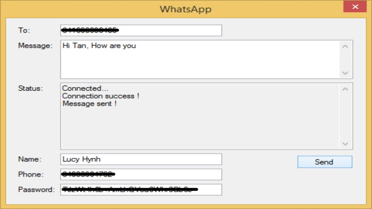 C# Application - How to Send free SMS with WhatsApp | FoxLearn