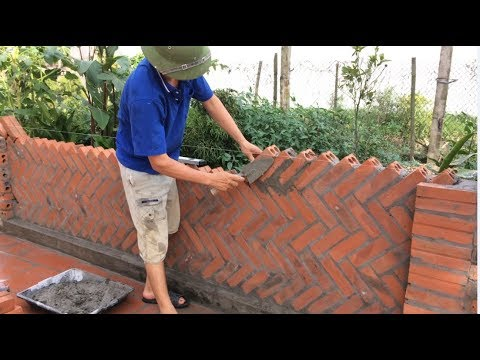 Great Creative Construction Workers Made From Bricks And Cement - Building Garden Fence