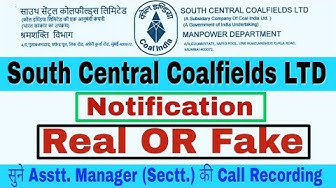 South Eastern Coalfields Limited Notification Real Or Fake.