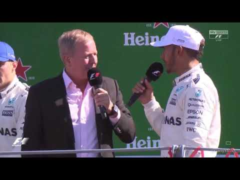 "Lewis Hamilton on Monza podium .. "" Mercedes power is definitely better than Ferrari power"" eh oh"
