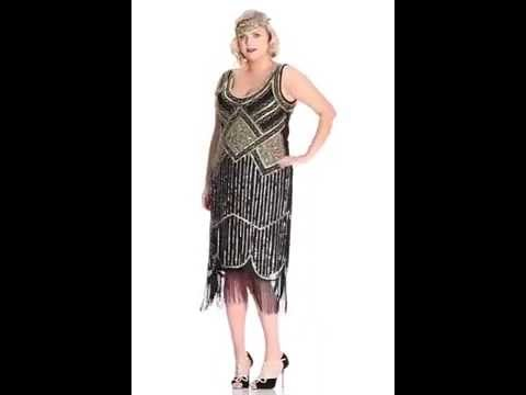 Paris Vintage Inspired Fringe Dress In Black Gold Plus Size Youtube