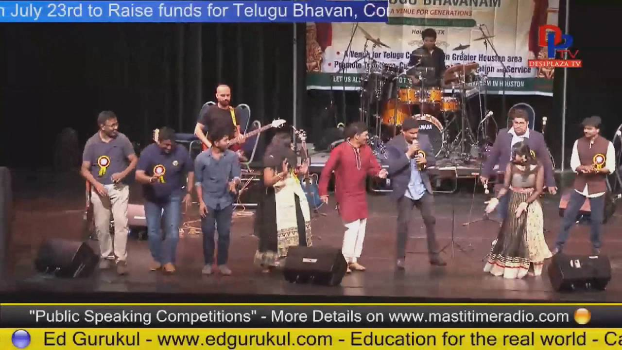 Siva sings along with Krishna Chaitanya  at Telugu Bhavanam fund Raising - Houston