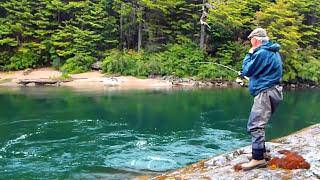 Ríos de la Patagonia, Pesca de Salmón Chinook de 18kg ( King Salmon ) en Chile.