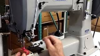 Sewing on the Techsew 5100-SE leather sewing machine