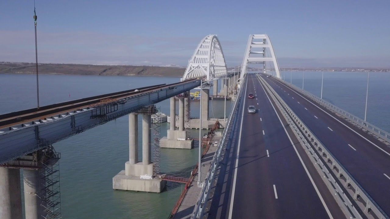 Строительство железнодорожной части Крымского моста, январь 2019 года