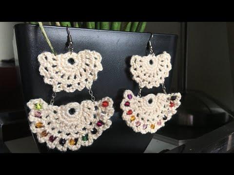 2-Layered Fan Summer Crochet earrings  Tutorial