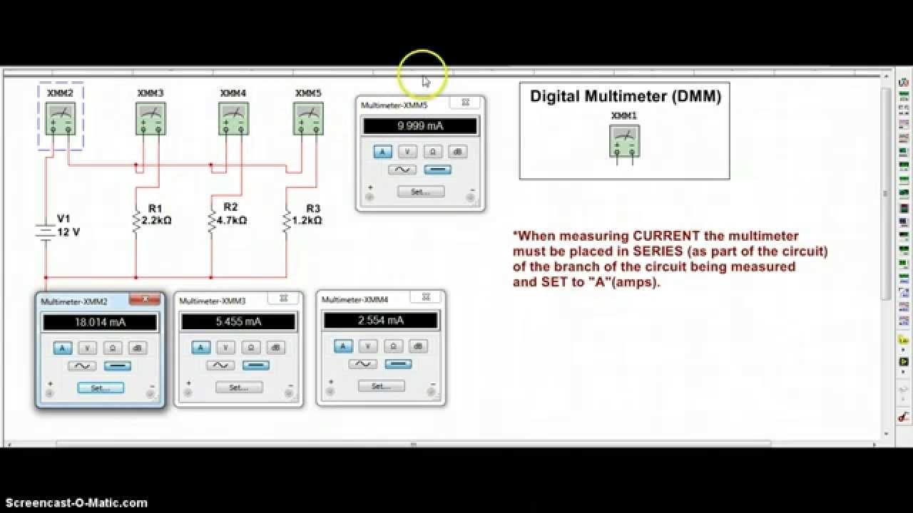 multisim 12 use dmm to measure current in a parallel circuit youtube rh youtube com Multisim Circuit Design Software Multisim Examples