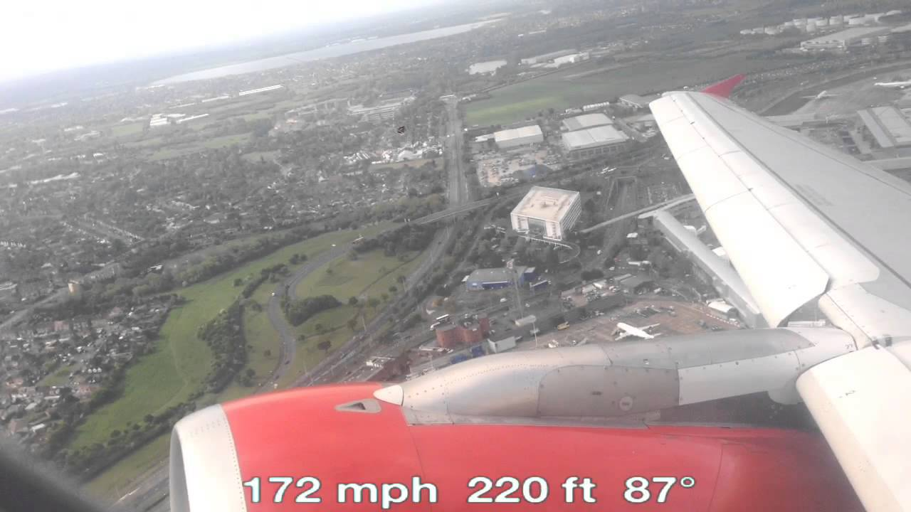 Airbus A320 Take Off (LHR) with Real-Time Speed (MPH)