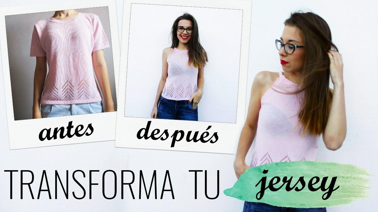DIY~ Transforma tu jersey de punto - YouTube