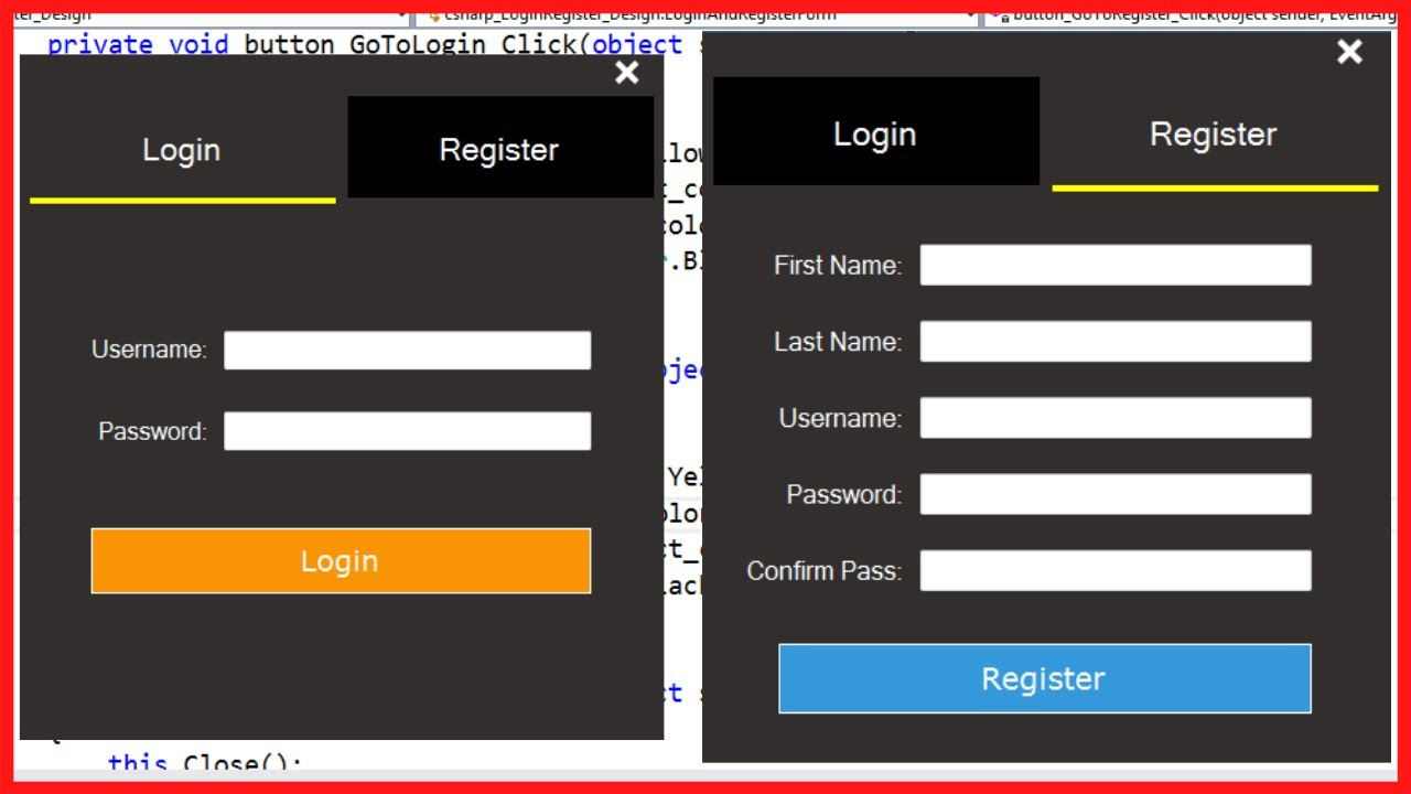 C# - How To Design Login And Register Form In C#