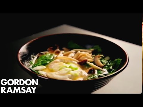 Miso Broth with Spring Onions and a Poached Egg - Gordon Ramsay