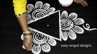 Beautiful daily kolam with 5 dots ||easy rangoli designs || new triangle muggulu