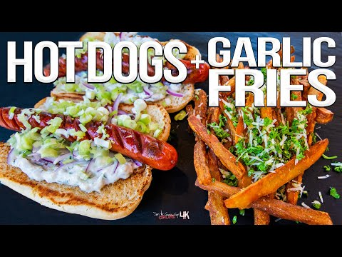 The Best Hot Dog Recipe – with Homemade Garlic Fries! | SAM THE COOKING GUY 4K