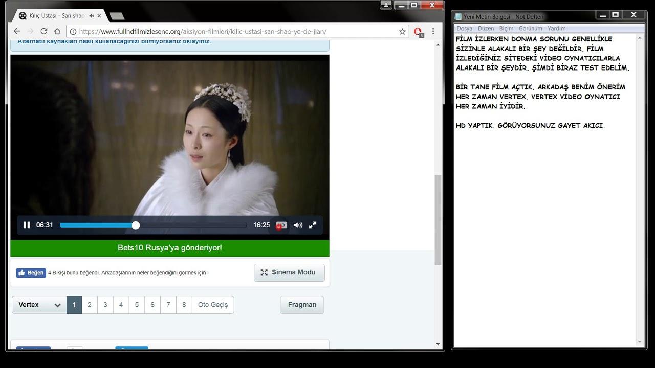 internetten film izlerken bilgisayar donuyor