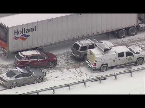 AERIALS: Crash involving commerical vehicles, passenger bus shut down SB I-65 in Hart County