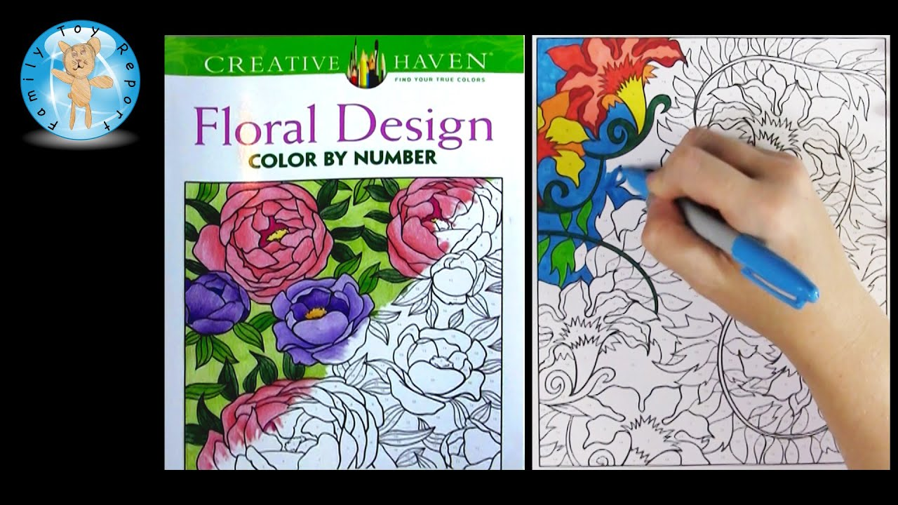 creative haven floral design color by number adult coloring book speed color family toy report youtube - Color By Number Books