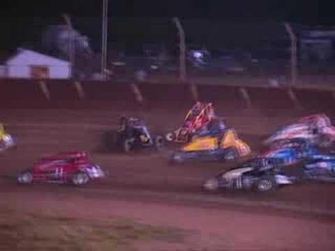 1 Robert Ballou flips at Kokomo Speedway 2008
