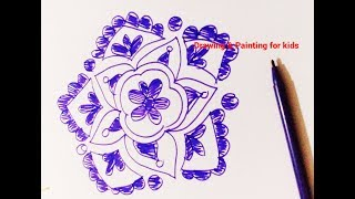 How to make blue color rangoli design with blue sketch pen / easy rangoli design