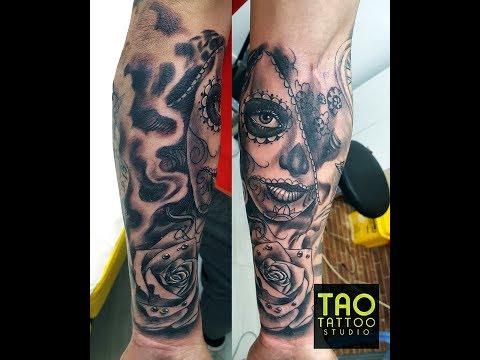 catrina tatuaje estilo chicano - nuevo estudio de tatuajes en Sevilla Tao Tattoo Studio 2018