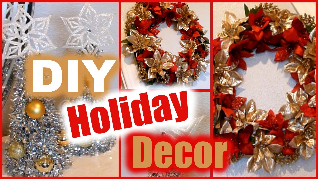 diy holiday decorations dollar tree christmas decor wreath mini trees youtube - Christmas Holiday Decorations