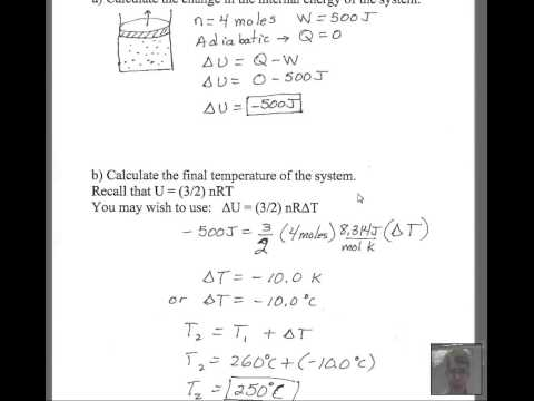 Adiabatic Expansion Calculate Delta U and Delta T  YouTube