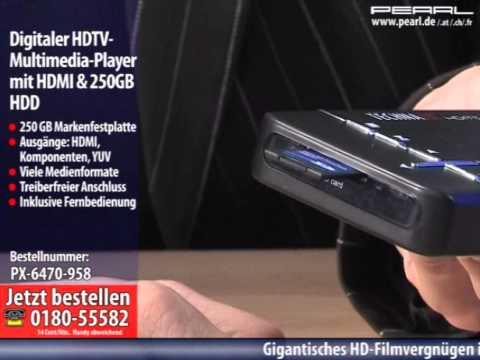 Digitaler HDTV-Multimedia-Player mit HDMI & 250GB HDD