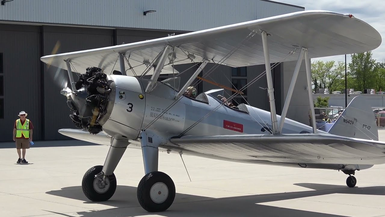 Boeing PT-17 Stearman Kaydet Start up, Taxi and take off