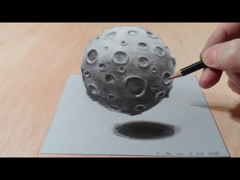 How to Draw 3D Moon - Drawing Moon with Charcoal & Markers - Trick Art Graphic