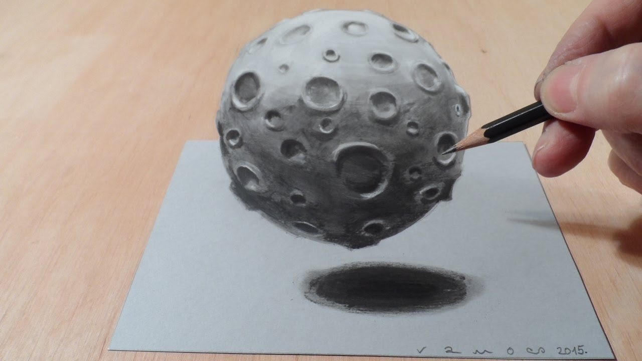 How to Draw 3D Moon – Drawing Moon with Charcoal & Markers – Trick Art Graphic
