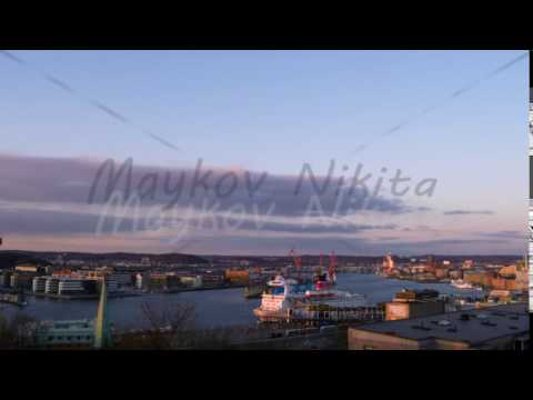 Port of Gothenburg, the transition day-night. Sweden. Time Lapse. 4K