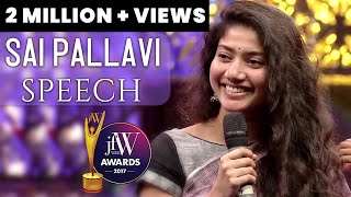 Sai Pallavi Speech | Actresses have a short span in films | JFW Awards 2017 | JFW Magazine